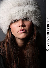 fashion woman in fur-cap