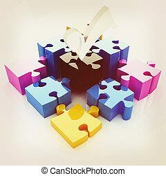 Puzzle of the four elements. Conceptual image - a palette CMYK. 3D illustration. Vintage style.
