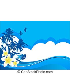 Summer vacation - Summer themed beach illustration...
