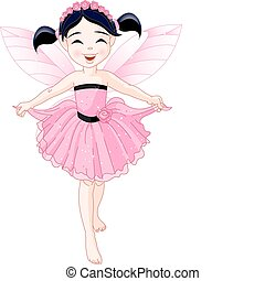 Little pink fairy - Cute girl with pink dress and artificial...