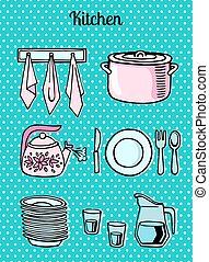 Kitchen tools on a turquoise background vector - Kitchen...