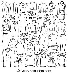 Doodle set with man and woman clothes