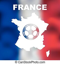 French Abstract Map - Abstract french map with football on...