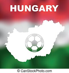 Hungarian Abstract Map - Abstract hungarian map on flag...