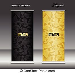 Black and gold Roll up banner template vector, polygon...