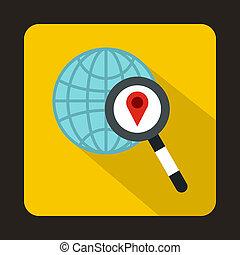 globo, mapa, indicador, y, Aumentar, vidrio