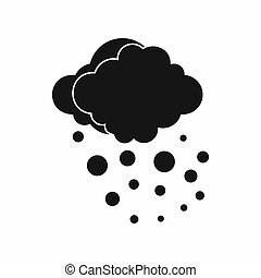Cloud with hail icon, simple style - Cloud with hail icon in...