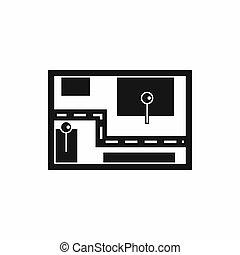 navegante, icono, simple, estilo