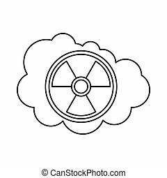 Cloud and radioactive sign icon, outline style - Cloud and...