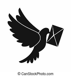 Dove carrying envelope icon, simple style - Dove carrying...