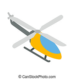 Orange helicopter icon, isometric 3d style - Orange...