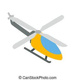 Orange helicopter icon, isometric 3d style - Orange...