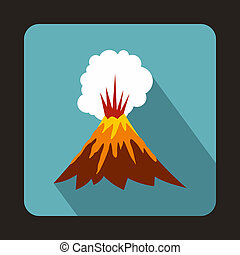Volcano erupting icon, flat style - icon in flat style on a...