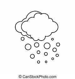 Cloud with hail icon, outline style - Cloud with hail icon...