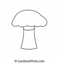 Mushroom icon, outline style - Mushroom icon in outline...