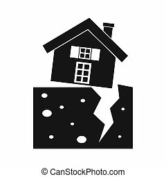 House after an earthquake icon, simple style - House after...