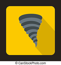 Tornado icon in flat style - icon in flat style on a yellow...