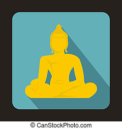 Statue of Buddha sitting in lotus pose icon - icon in flat...