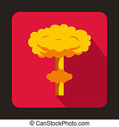 Nuclear explosion icon, flat style - icon in flat style on a...