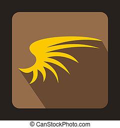 jaune, aile, icône, dans, plat, Style