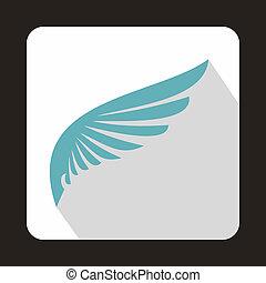 bébé, bleu, aile, icône, dans, plat, Style