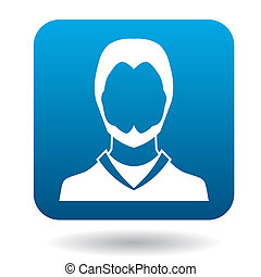 Avatar man with beard icon, simple style - Avatar man with...