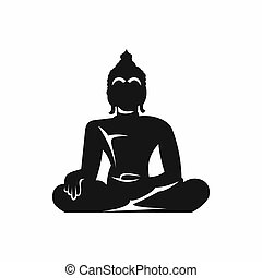 Statue of Buddha sitting in lotus pose icon in simple style...