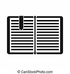 Open book with a bookmark icon, simple style - Open book...
