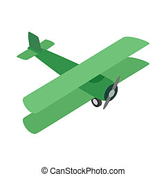 Green plane icon, isometric 3d style - Green plane icon in...