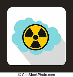 Cloud and radioactive sign icon, flat style - icon in flat...