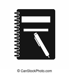 Closed spiral notebook and pen icon, simple style - Closed...
