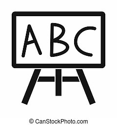 Chalkboard with the leters ABC icon, simple style