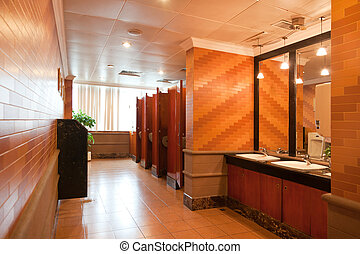 Interior of a luxury public restroom in a modern building