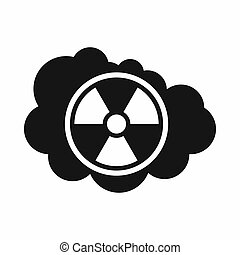 Cloud and radioactive sign icon, simple style - Cloud and...
