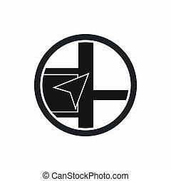 mapa, navegación, icono, simple, estilo