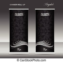 Black and white Roll up banner template vector, banner...