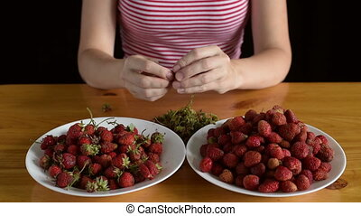 Preparing strawberries for jam - Woman preparing (cleaning)...