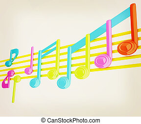 Various music notes on stave Colorfull 3d 3D illustration...