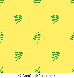 Seamless Leaves Pattern - Summer Green Leaves Isolated on...