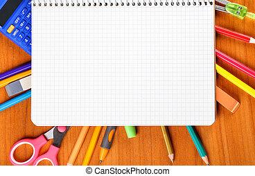 notebook, pencils, scissors, calculator, ruler, compass, pen