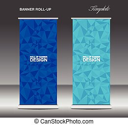 Orange Roll up banner template vector, polygon background,...