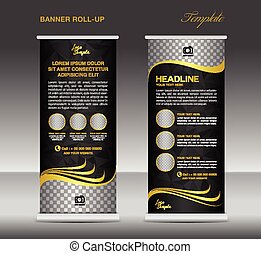 Gold and black Roll up banner template vector, stand flyer...