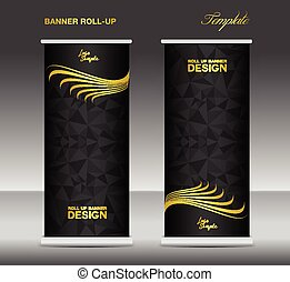 Gold and black Roll up banner template vector, banner...