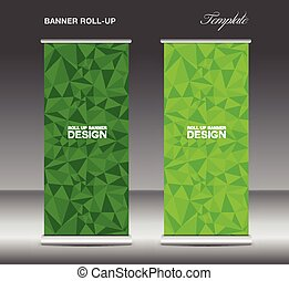 Green Roll up banner template vector, polygon background,...