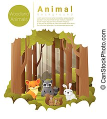 Forest landscape background with woodland animals , vector ,...