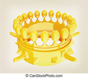 Crown for a Royal King Cartoon 3D illustration Vintage style...