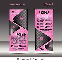 Pink Roll up banner template vector, banner design, stand,...
