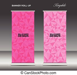 Pink Roll up banner template vector, polygon background,...