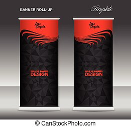 Red and black Roll up banner template vector, banner design,...