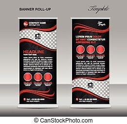 Red and black Roll up banner template vector, stand, flyer...